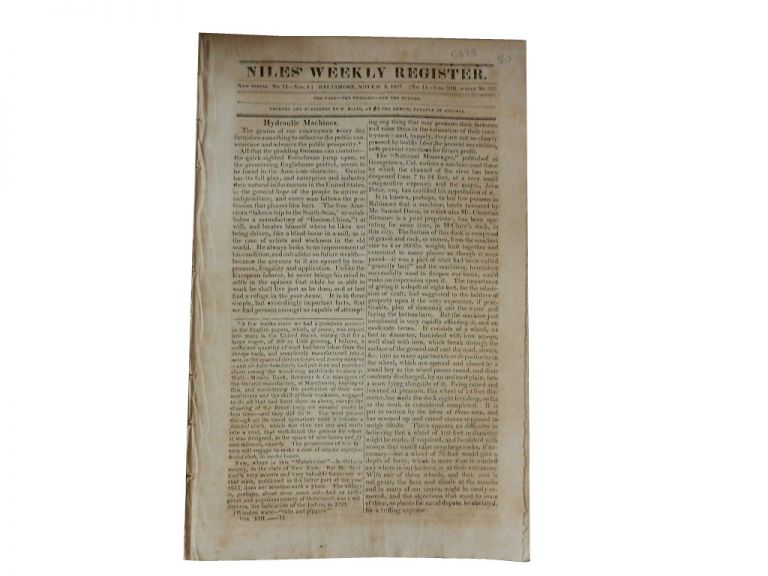 Niles' Weekly Register: Fourth Series, No. 3 of Vol. VI, Whole No. 1069, Mar. 17, 1832/No. 4 of Vol. VI, Whole No. 1070, Mar. 24, 1832. Niles' Weekly Register.