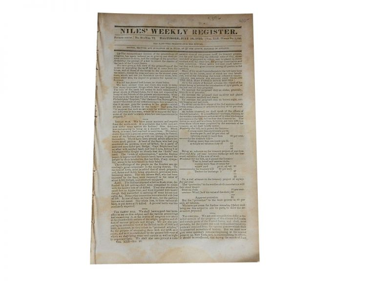 Niles' Weekly Register: Fourth Series, No. 20 of Vol. VI, Whole No. 1086, July 14, 1832. Niles' Weekly Register.
