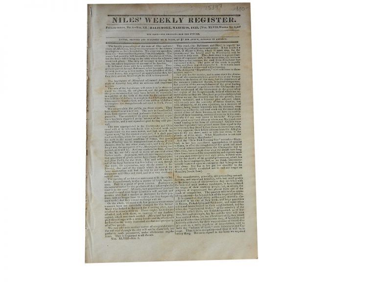 Niles' Weekly Register: Fourth Series, No. 4 of Vol. XII, Whole No. 1227, Mar. 28, 1835. Niles' Weekly Register.