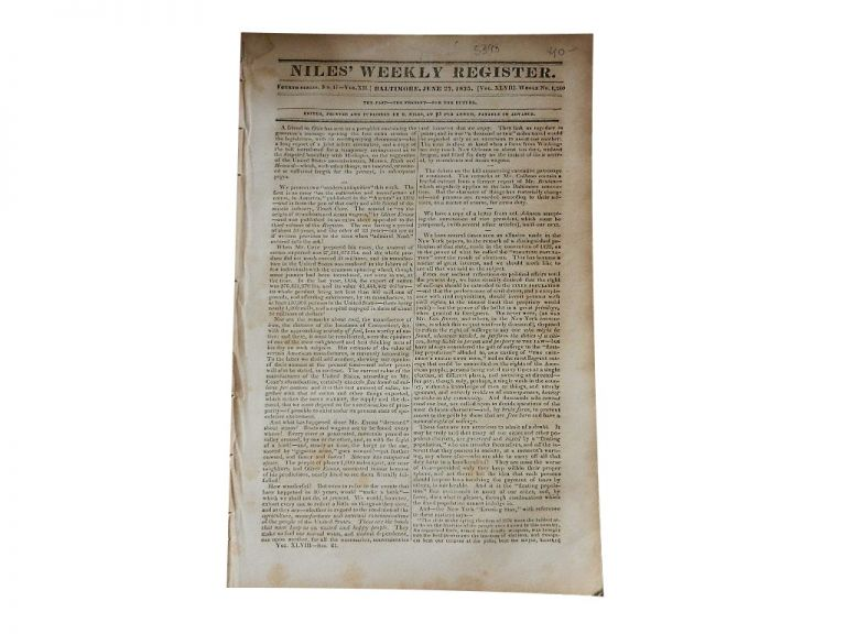 Niles' Weekly Register: Fourth Series, No. 17 of Vol. XII, Whole No. 1240, June 27, 1835. Niles' Weekly Register.