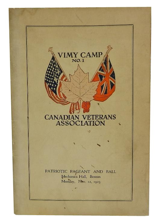 Vimy Camp No. 1, Canadian Veterans Association, Patriotic Pageant and Ball (program). Fred R. Basley.