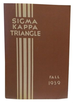 Sigma Kappa Triangle, Fall 1939. Mrs. James Stannard Baker, -in-chief