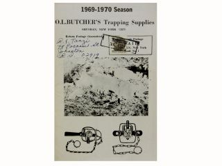 O. L. Butcher's Trapping Supplies:; 1969-1970 Season
