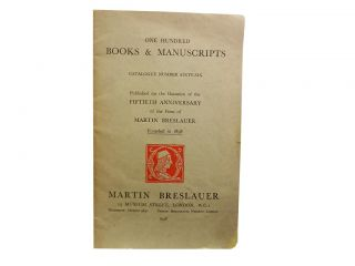One Hundred Books & Manuscripts Catalogue Number Sixty-Six